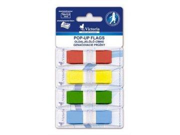 Samolepící záložky Victoria 43x12,5 mm, 4x36 lístků, mix barev
