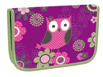 Školní penál Owl Sova, 1 patrový, 2 klopy