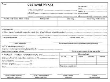 Cestovní příkaz A5 ET230