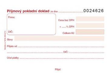 Příjmový pokladní doklad A6 číslovaný PT022