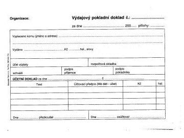 Výdajový pokladní doklad i pro podvojné učetnictví A6 ET050
