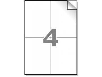 Samolepící etikety A4, 105x148,5 mm, 4ks/arch - hranaté 100l.