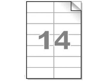 Samolepící etikety A4, 105x42,4 mm, 14ks/arch - hranaté 100l.