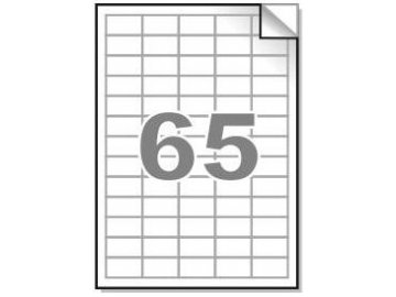 Samolepící etikety A4, 38x21,2mm, 65ks/arch - zaoblené 100l.