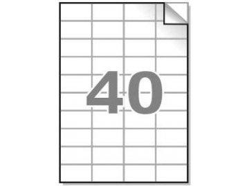 Samolepící etikety A4, 52,5x29,7mm, 40ks/arch - hranaté 100l.