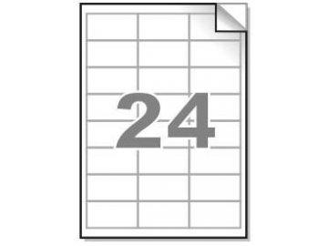Samolepící etikety A4, 64,6x33,8 mm, 24ks/arch - hranaté 100l.