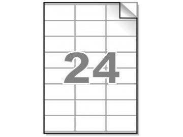 Samolepící etikety A4, 70x36 mm, 24ks/arch - hranaté 100l.