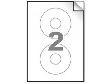 Samolepící etikety A4, CD 114/40 mm, 2ks/arch - kulaté 100l.
