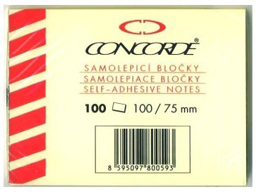 Samolepící bloček 75x102 mm Concorde žlutý 100 lístků