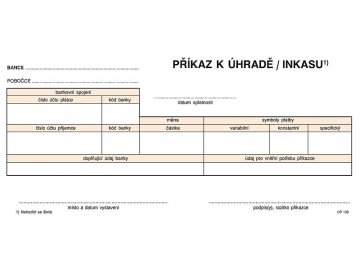 Jednorázový příkaz k úhradě, samoprop., 21 x 10 cm, 100 listů 1109