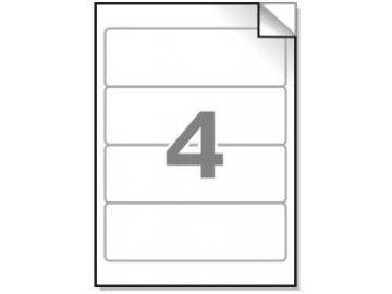 Samolepící etikety A4, 190x61 mm, 4ks/arch - zaoblené 100l.