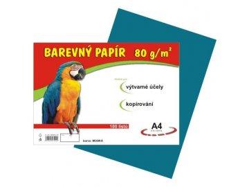 Barevný papír A4 80g, 100 listů modrý