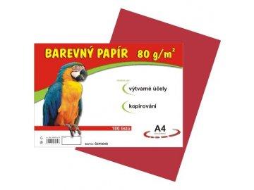 Barevný papír A4 80g, 100 listů červený