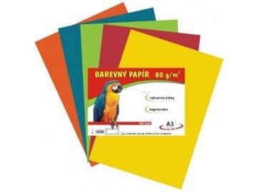 Barevný papír A3 80g, 60 listů 5 barev