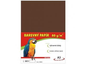 Barevný papír A3 80g, 100 listů hnědý