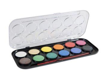 Vodové barvy CONCORDE + štětec, 12 barev, průměr 30mm