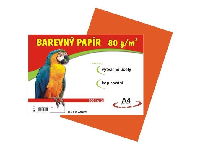 Barevný papír A4 80g, 100 listů oranžový
