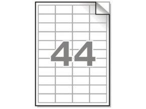 Samolepící etikety A4, 48,5x25,4mm, 44ks/arch - hranaté 100l.