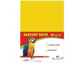 Barevný papír A4 80g, 100 listů žlutý