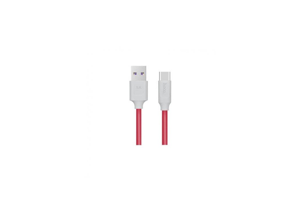 Hoco Type-C 5A Rapid Charging and Data Cable (1.2m) (White and Red)