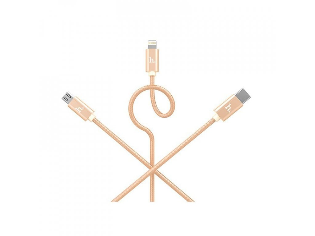 Hoco One-Pull-Three (Lightning + Micro USB + Type-C) Knitted Charging Cable (Gold)