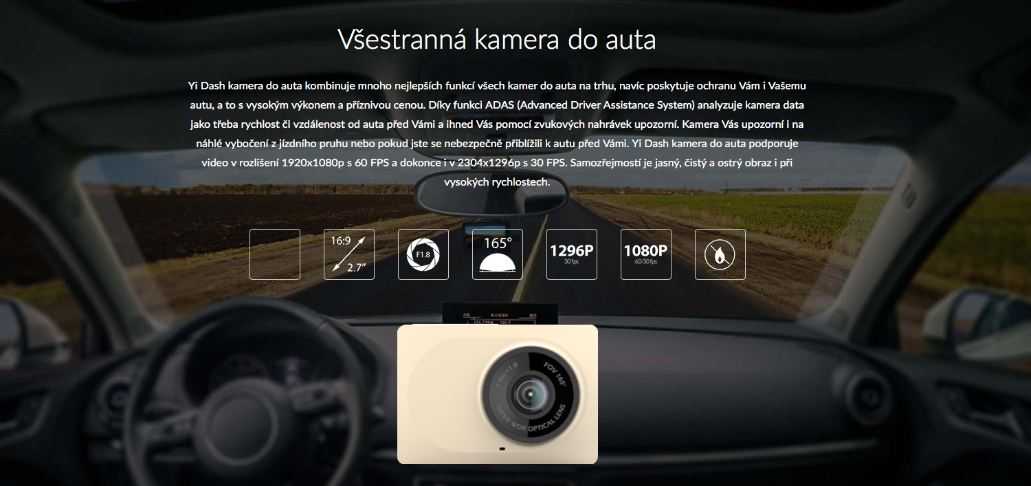 XIAOMI YI DASHBOARD CAMERA GREY chytrá auto kamer do auta cena