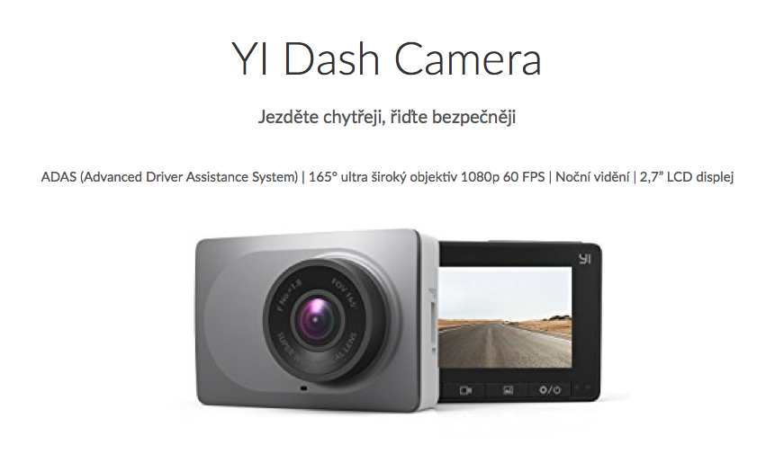 XIAOMI YI DASHBOARD CAMERA GREY chytrá auto kamera