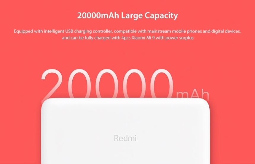 Xiaomi 20 000 mAh Redmi 18W Fast Charge Power Bank test
