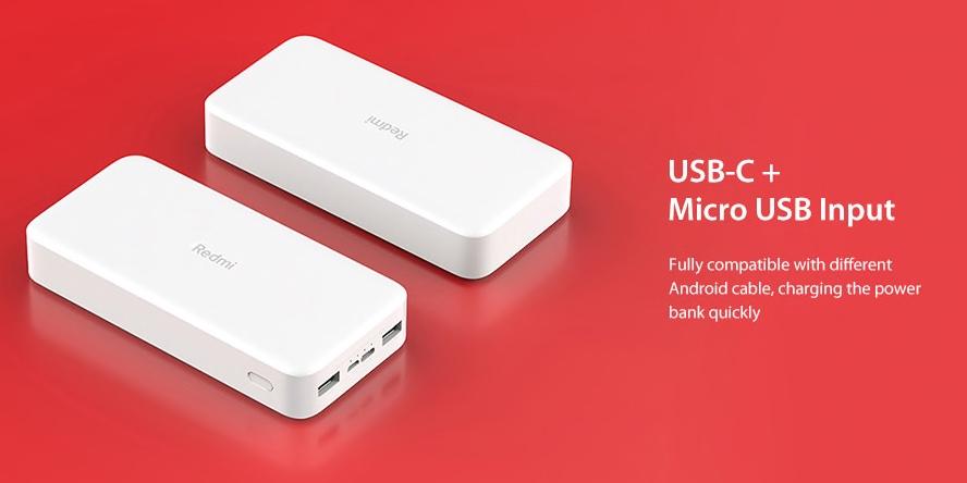 Xiaomi 20 000 mAh Redmi 18W Fast Charge Power Bank usb c