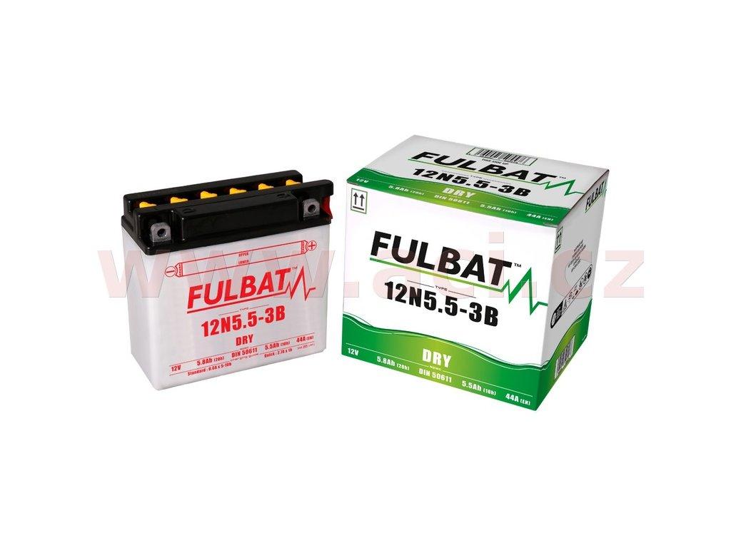 baterie 12v 12n5 5 3b 5 8ah 44a konvencni 135x60x130 fulbat vc baleni elektrolytu i138209