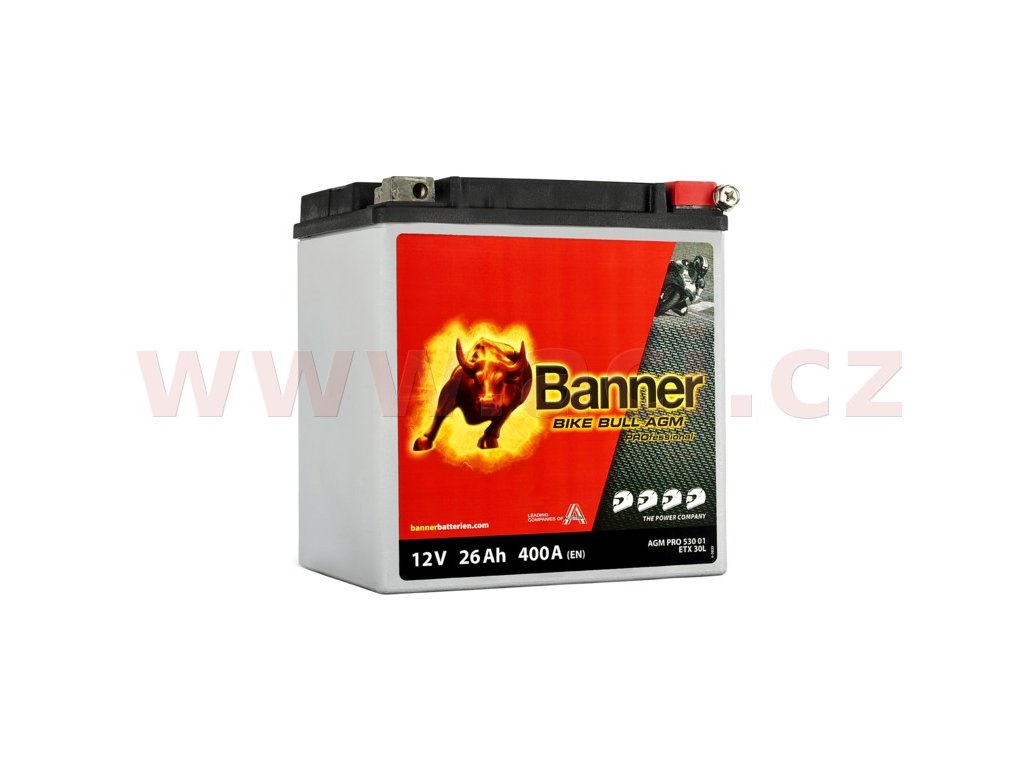 baterie 12v etx 30 l 26ah 400a banner bike bull agm pro 168x131x197 i169222