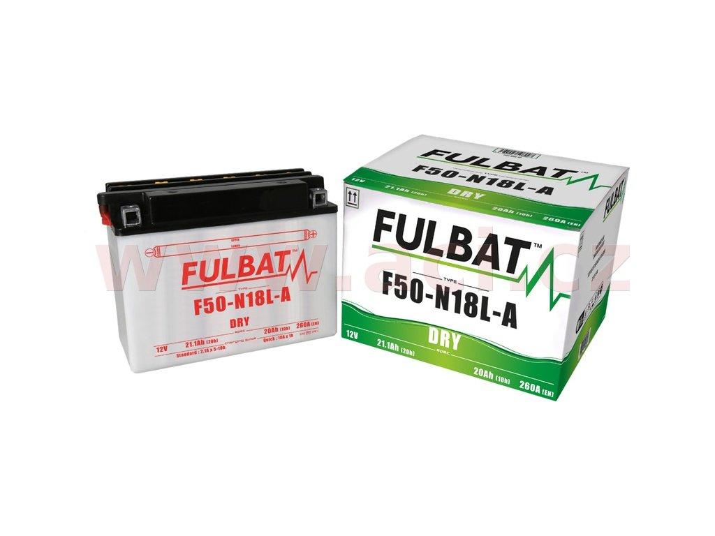 baterie 12v f50 n18 l a 20ah 260a konvencni 205x90x162 fulbat vc baleni elektrolytu i138247