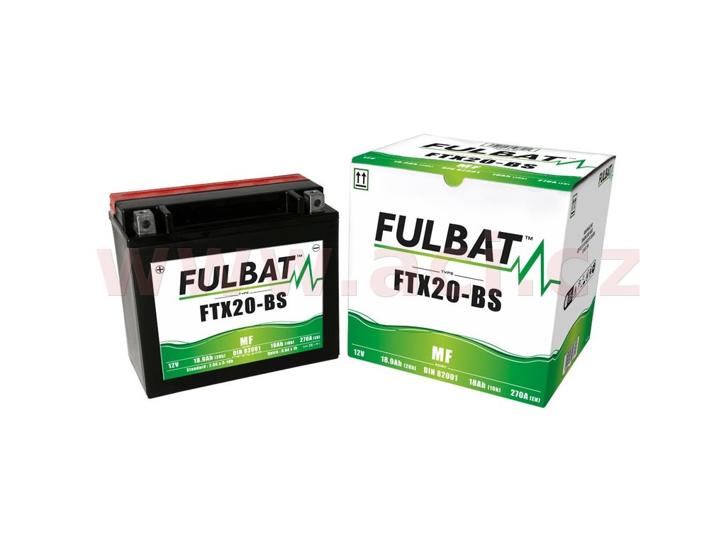 baterie 12v ftx20 bs 18ah 270a bezudrzbova mf agm 175x87x155 fulbat vc baleni elektrolytu i138300