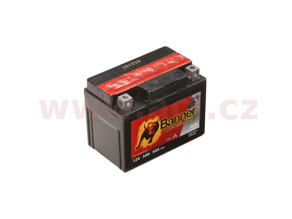 baterie 12v ytx4 l bs 3ah 50a banner bike bull agm 114x71x86 i93534