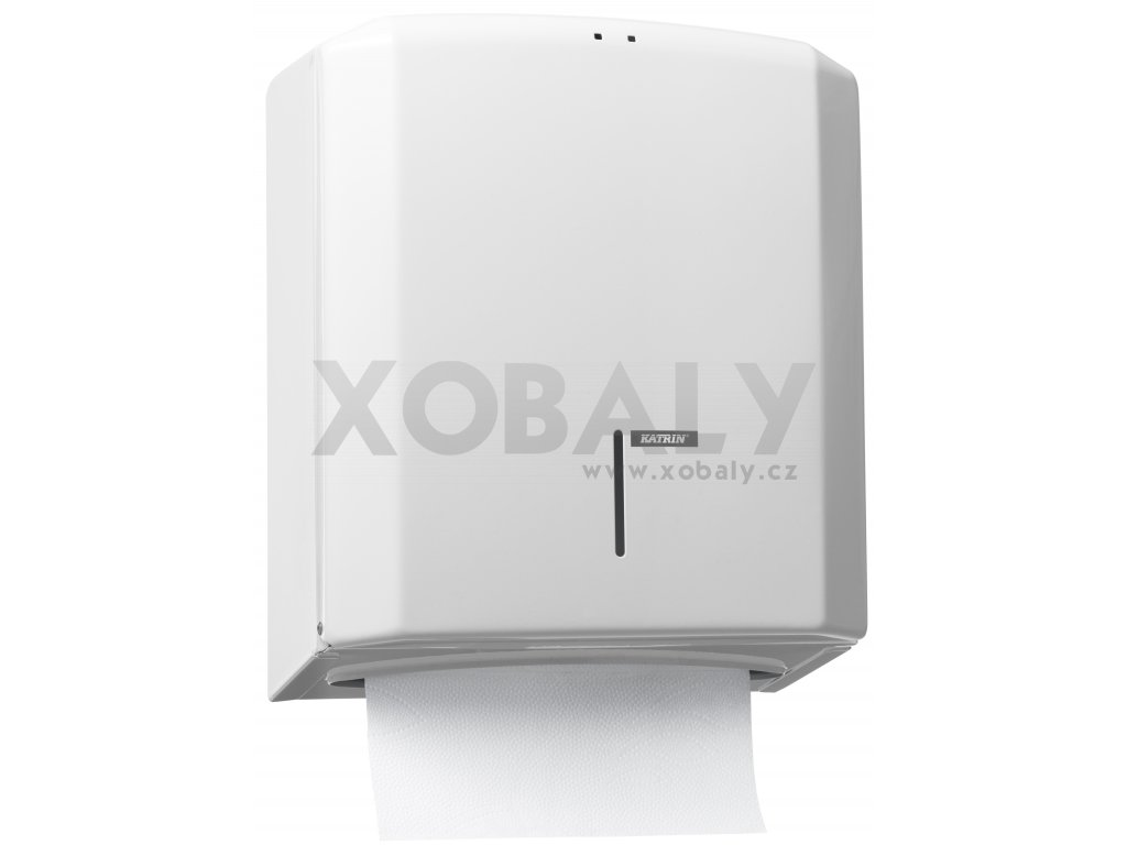 """Zásobník KATRIN na papírové skládané ručníky """"M"""" kov, bílý - 988113"""