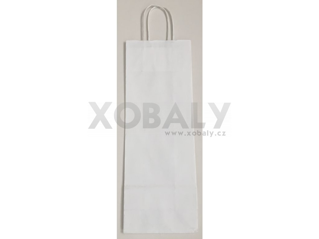 Papírová taška na víno 14x8x39cm - bílá