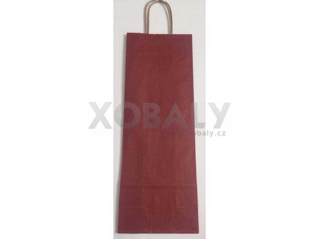 Papírová taška na víno 14x8x39cm - tmavě červená