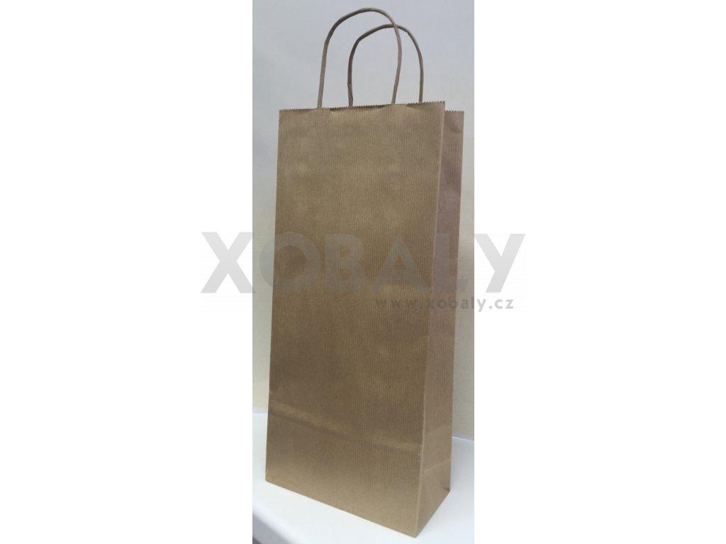 Taška papírová na víno 18x8x39mm hnědá - taška na dvě lahve