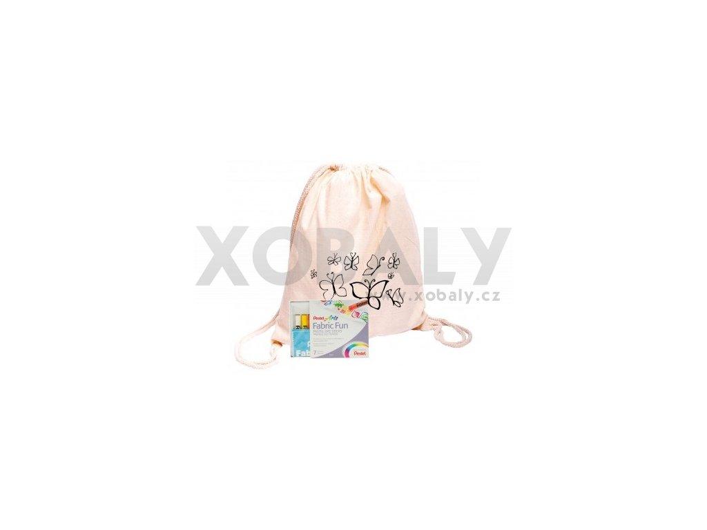 Bavlněný batoh na vybarvení + pastelky 7barev