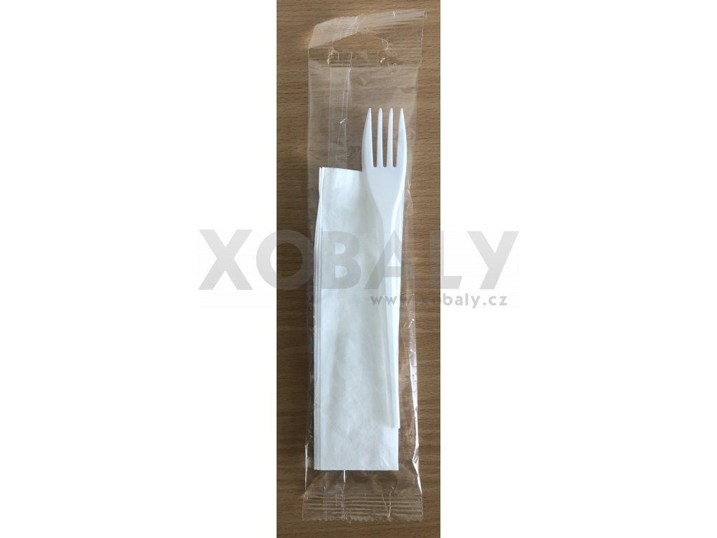 Vidlička bílá s ubrouskem hygienicky balená