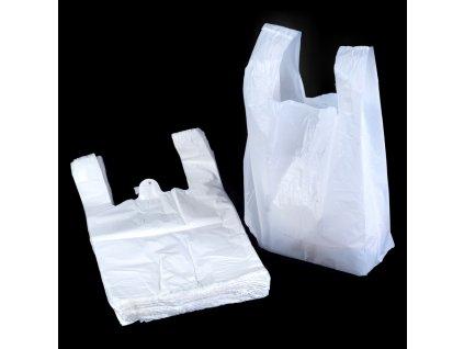 Taška mikrotenová košilka bílá (cena za 200ks) -250+120x470mm