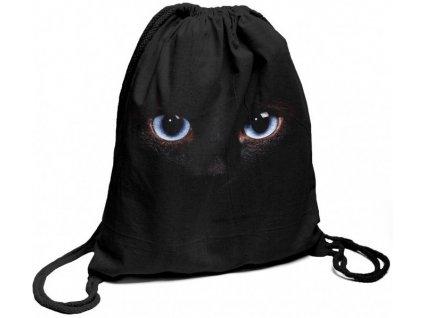 Bavlněný batoh na záda černý s potiskem modré oči