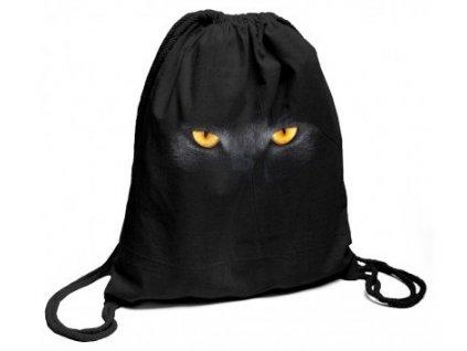 BAvlněný batoh na záda černý s potiskem žluté oči