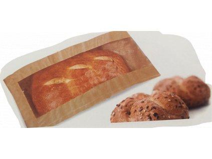 Papírový sáček na pečivo s okénkem 120+40x240mm (cena za 1000ks)