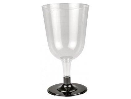 Sklenička na víno s černou nožkou 200ml (cena za 12ks)