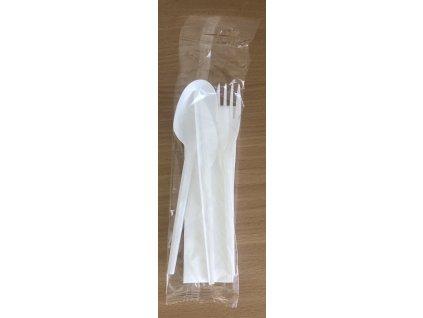 Vidlička, nůž a lžíce bílá s ubrouskem hygienicky balené