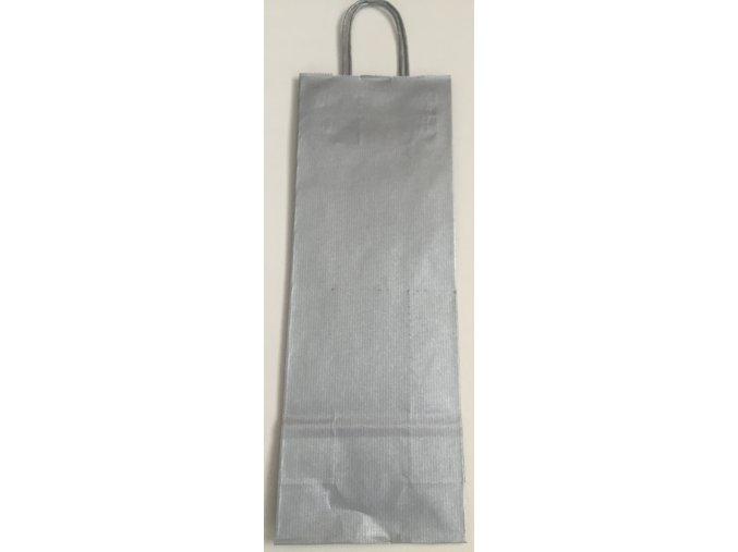 Papírová taška na víno 14x8x39cm - stříbrná