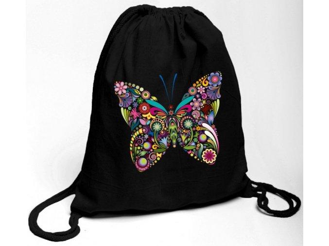 Bavlněný batoh na záda černý s potiskem barevný motýl