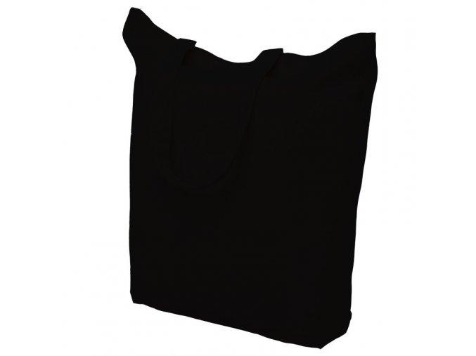Bavlněná nákupní taška černá - ucho krátké - 380x420mm