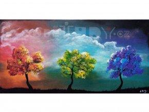 Obraz Tři stromy, originál, akryl na plátně, 60x30 cm